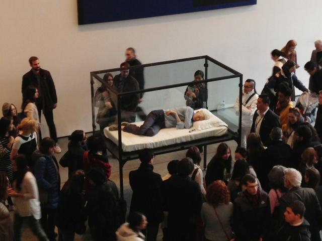 Tilda Swinton Naps at MoMA