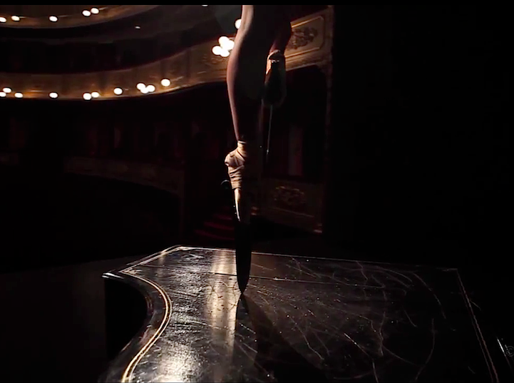 Ballerina Performs En Pointe with Knife Shoes