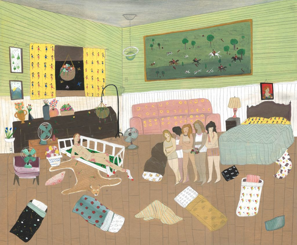 "Andrea Heimer, ""Josie McAllister had Sleepovers..."", acrylic & pencil on panel"