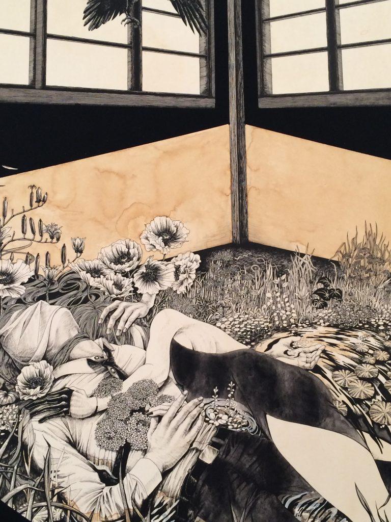 Hiroko Shiina, Forever, 2015 - wooden panel, paper, ink, acrylic, coffee