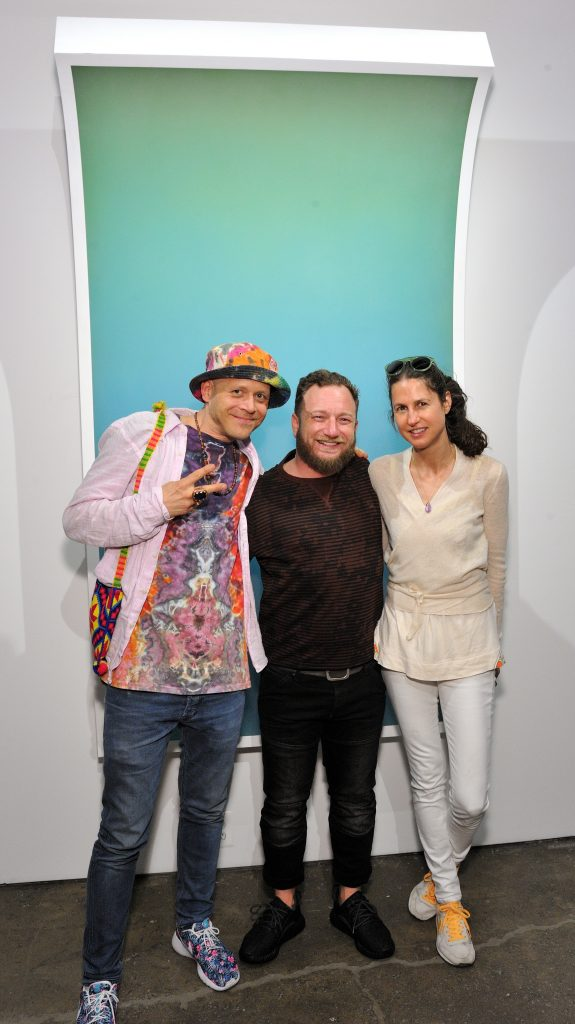 "L-R: Artist Sebastian Wahl, Joseph gross and Anastasia Wahl attend the Peter Gronquist ""Refuge"" exhibition opening at Joseph Gross Gallery in New York, NY on June 9, 2016. (Photo by Stephen Smith)"
