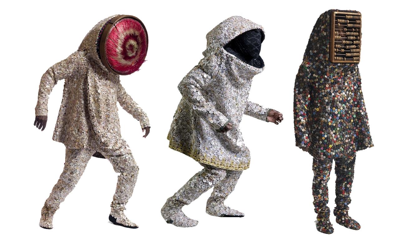 Artist Nick Cave soundsuit trio